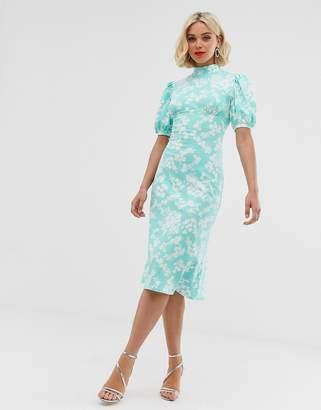 b2f8f9d6823f Asos Design DESIGN ditsy print midi tea dress with puff sleeves