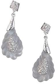 Alexis Bittar Frosted Swarovski Crystal Encrusted Paisley Rope Dangling Earrings