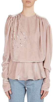 Magda Butrym Asuncion Sequined & Strass Velvet Peplum Top, Pink