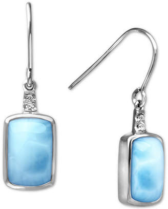 Marahlago Larimar (7 x 11mm) & White Sapphire (1/20 ct. t.w.) Drop Earrings in Sterling Silver