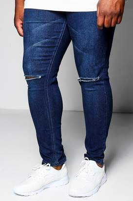 boohoo Big And Tall Indigo Ripped Knee Skinny Fit Jeans