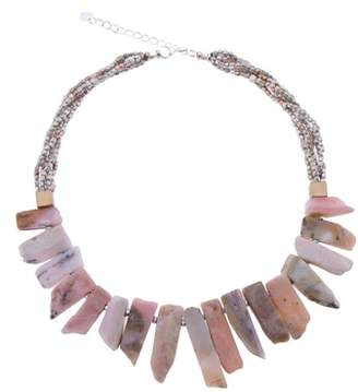 Nakamol Design Short Stick Agate & Crystal Collar Necklace