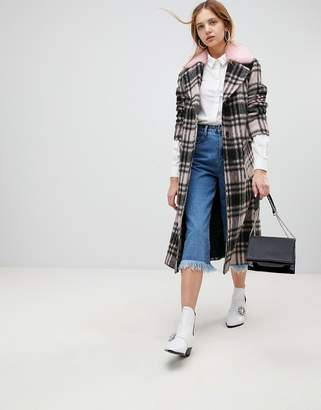 Helene Berman Wool Blend Longline Check Faux Fur Collar Coat