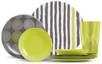 Thermoserv 16-Piece Melamine Dinnerware Set, Stripes and Spirals