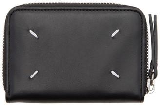 Maison Margiela Black Compact Zip Around Wallet $355 thestylecure.com