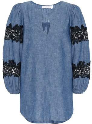 See by Chloe Lace-trimmed chambray top