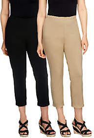 Women with Control Petite Set of 2 StraightLeg Crop Pants