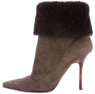 Jimmy Choo Jimmy Choo Shearling Pointed-Toe Ankle Boots