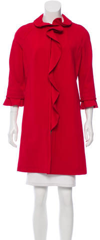Valentino Valentino Ruffle-Accented Lightweight Coat w/ Tags