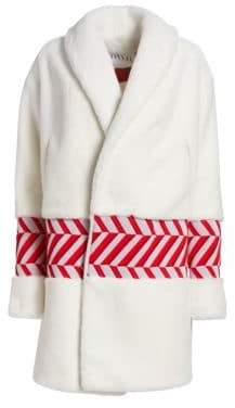 Onair Zigzag-Stripe Faux Fur Coat
