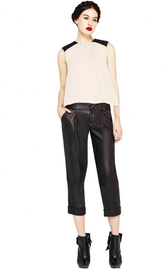Alice + Olivia Leather Shoulder Muscle Tee