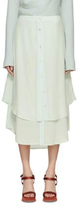 Sies Marjan Green Silk Leo Button-Front Skirt