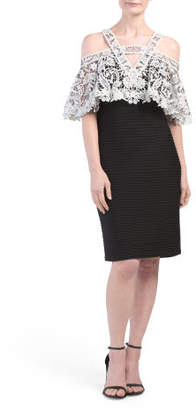 Off The Shoulder Lace Bodycon Midi Dress