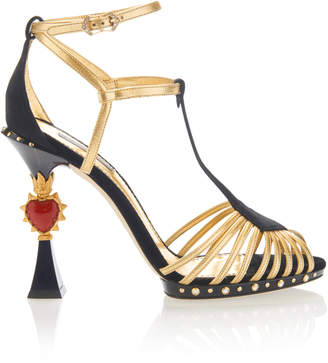 Dolce & Gabbana Woman Embellished Mirrored-leather Slides Gold Size 36 Dolce & Gabbana Y2slD2ky