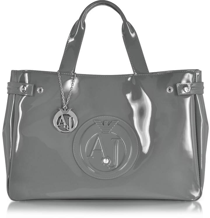 Armani Jeans Large Gray Faux Patent Leather Tote Bag