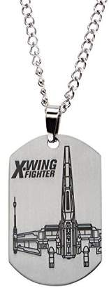 Star Wars Jewelry Episode 7 X-Wing Fighter Laser Etched Dog Tag Pendant Necklace