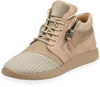 Giuseppe Zanotti Men's Metallic Neoprene & Leather Trainer Sneakers