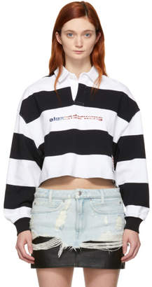 Alexander Wang Black and White Stripe Cropped Rugby Polo