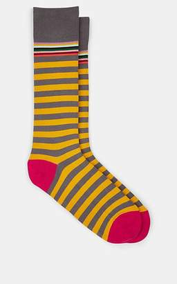 Paul Smith Men's Striped Stretch-Cotton Mid-Calf Socks - Green