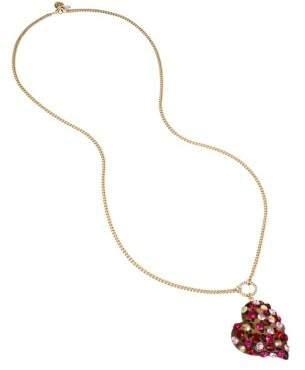 Betsey Johnson Semi-Precious Stone & Crystal Roses Heart Pendant Necklace