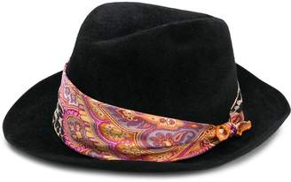 Etro mixed-print fedora hat