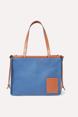 Loewe Cushion Large Leather-trimmed Canvas Tote - Blue