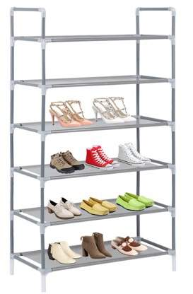 Dodomore 6 Tier Metal Shoes Rack Storage Organizer Durable Shoes Cabinet Home Furniture