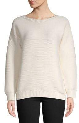 Jones New York Boat Neck High-Low Sweater