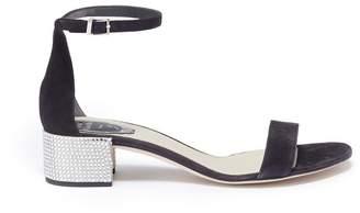 Rene Caovilla Strass pavé heel ankle strap suede sandals