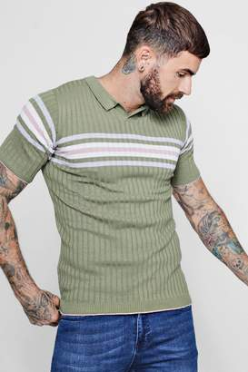 boohoo Muscle Fit Colour Block Notch Neck Knitted T-Shirt