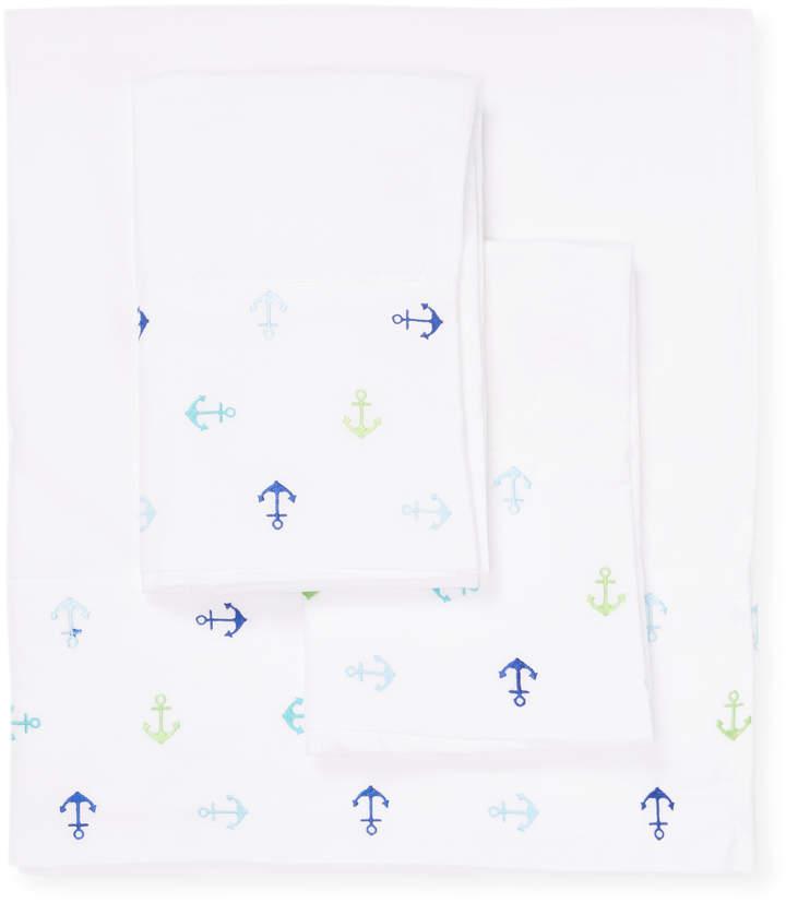 Elite Home Hotel Coastal Microfiber Embroidered Sheet Set