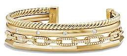 David Yurman Women's Stax Medium Cuff Bracelet with Diamonds in 18K Gold