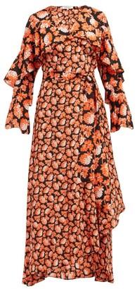 Diane von Furstenberg Isla Berry Print Silk Wrap Dress - Womens - Orange Multi