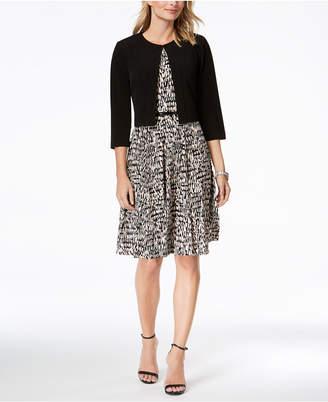Jessica Howard Belted Printed Dress & Jacket, Regular & Petite Sizes