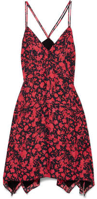 IRO Soul Floral-print Twill Mini Dress - Red