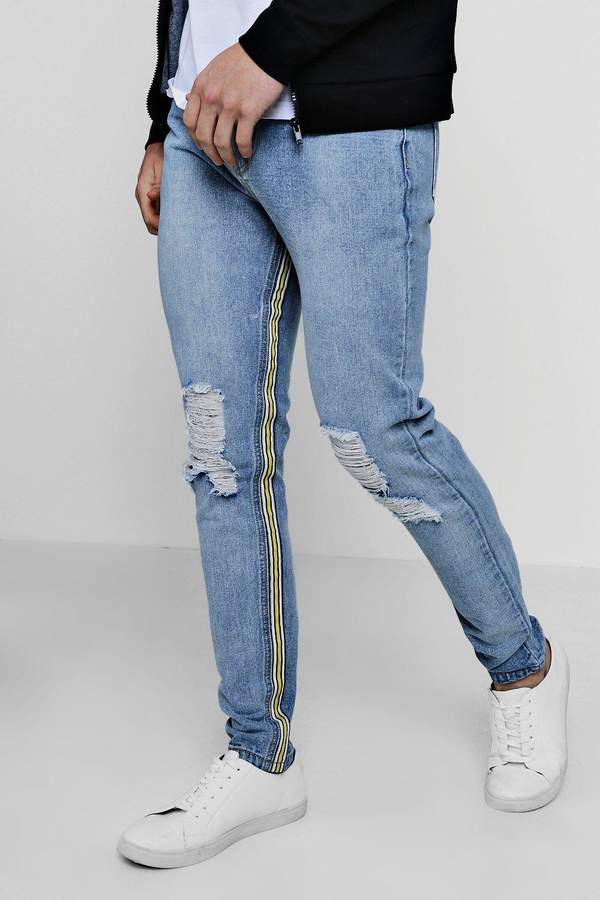 boohoo Skinny Fit Rigid Jeans With Inside Taping