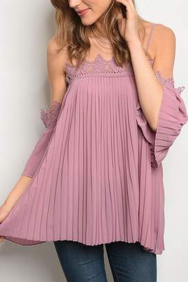 Easel Mauve Pleated Top