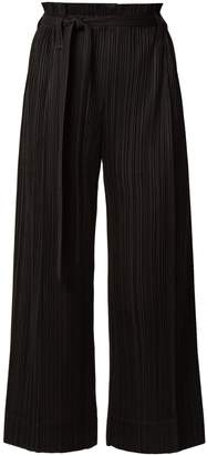 Pleats Please Issey Miyake Paperbag-waist wide-leg pleated cropped trousers