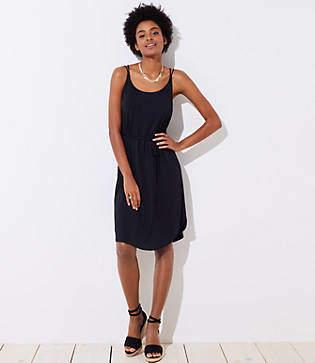 LOFT Petite Strappy Tie Waist Cami Dress