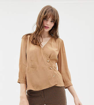 Monki wrap blouse with buttons in beige