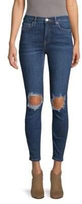Free People High-Waist Distressed-Knee Skinny Jeans