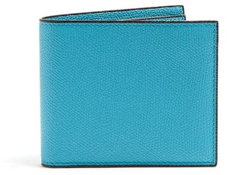 Valextra Bi Fold Leather Wallet - Mens - Light Blue