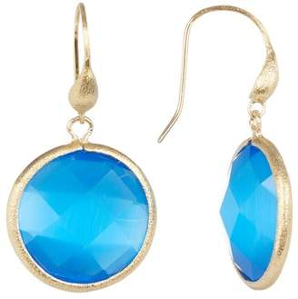 Rivka Friedman 18K Gold Clad Faceted Blue Cat's Eye Crystal Round Dangle Earrings