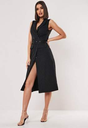 Missguided Black Pinstripe Sleeveless Midi Dress