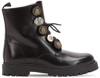 Leather Combat Boots W/ Buttons