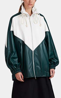PLAN C Women's Colorblocked Leather Anorak - Green