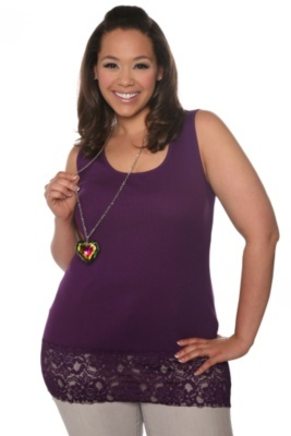Grape Lace-Hemmed Tank