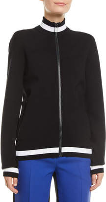 Michael Kors Mock-Neck Striped Viscose Track Jacket