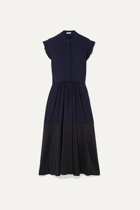 Chloé Ruffle-trimmed Two-tone Silk-georgette Midi Dress - Navy