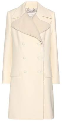 Chloé Wool crêpe coat with optional shearling vest